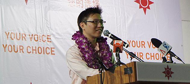 NSP candidate for Marine Parade, Spencer Ng, is accused of indiscretions with a student. (Yahoo! photo/ Alicia Wong)