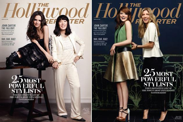 Katie Holmes mit Jeanne Yang, Emma Stone mit Petra Flannery (Bilder: The Hollywood Reporter)