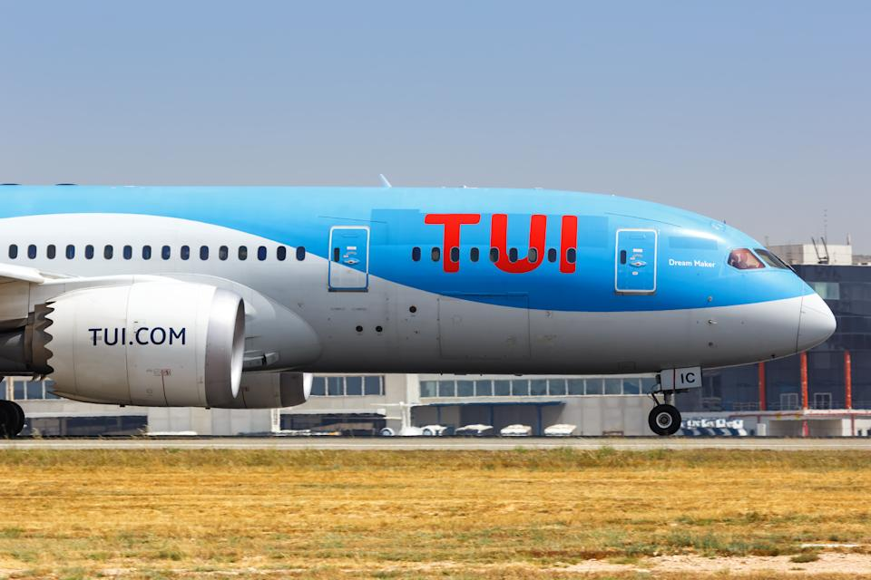 Alicante, Spain – July 6, 2019: TUI Boeing 787-8 Dreamliner airplane at Alicante airport (ALC) in Spain.