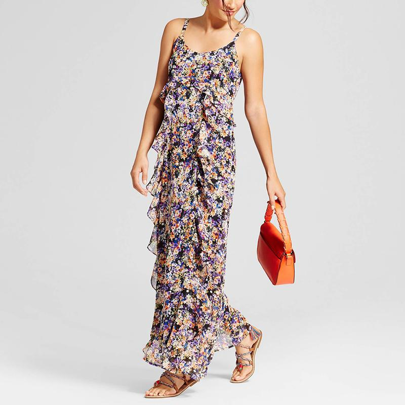 "<p><p><a rel=""nofollow"" href=""http://rstyle.me/n/cqdxzvjduw"">Spenser Jeremy Chiffon Printed Maxi Dress With Ruffle</a>, $38</p>"