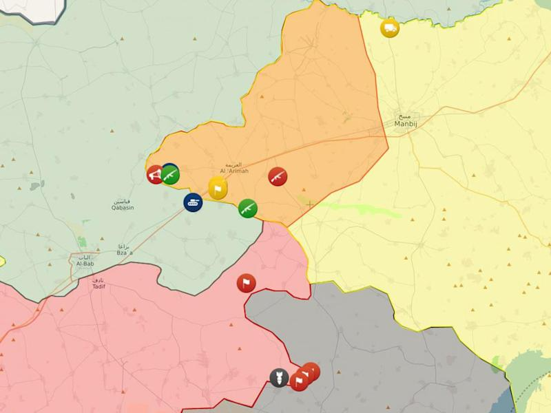 The converging frontlines near al-Bab between parties in the Syrian civil war. Territory controlled by Isis is seen in black, the Syrian government in red, Turkey-backed opposition in blue/green, Kurdish-led Syrian Democratic forces in yellow and Kurdish territory occupied by government forces in orange (Liveuamap)