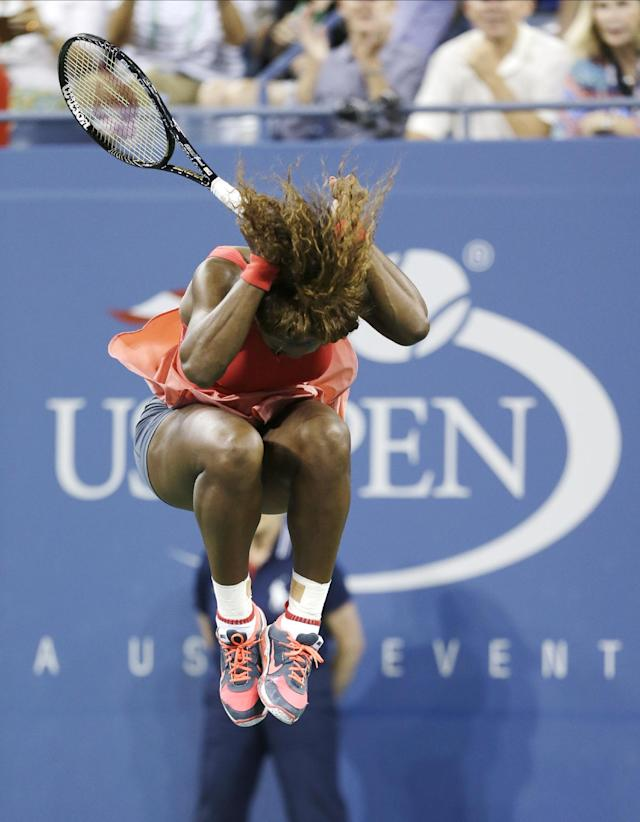 Serena Williams reacts after defeating Victoria Azarenka, of Belarus, during the women's singles final of the 2013 U.S. Open tennis tournament, Sunday, Sept. 8, 2013, in New York. (AP Photo/Darron Cummings)