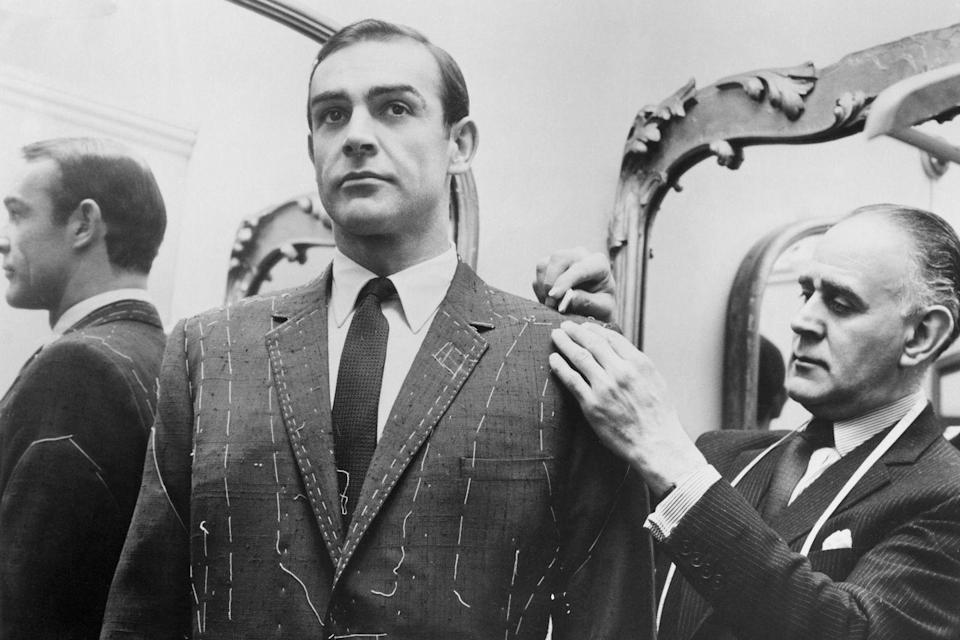 <p>Tailor Anthony Sinclair fitting Sean Connery for one of the suits he will wear in the film From Russia With Love in Mayfair, London</p>