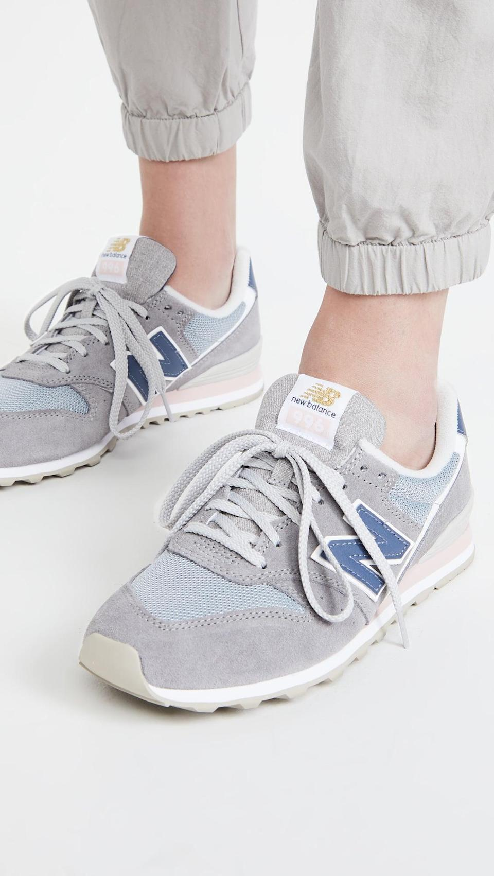 <p>These <span>New Balance 996 V2 Sneakers</span> ($80) will match any outfit in your closet with its versatile blue and gray accents. They are an easy weekend choice.</p>