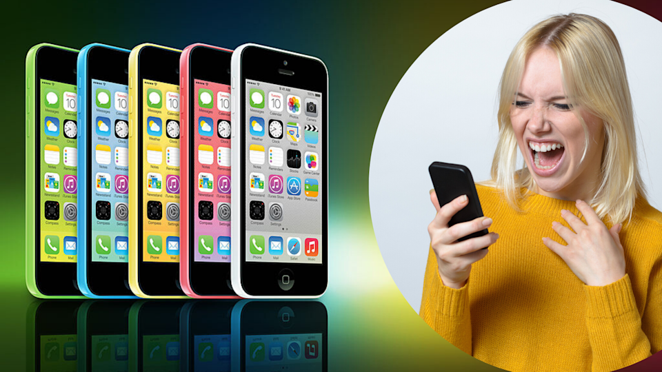 Pictured: iPhone 5, woman shouting at Apple iPhone while frustrated. Images: Getty