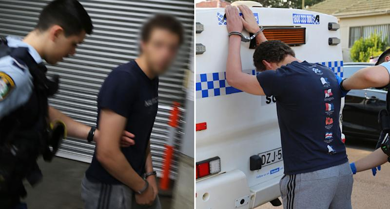 A 21-year-old man handcuffed by a NSW Police officer. He's also pictured being searched while leaning over a paddy wagon.