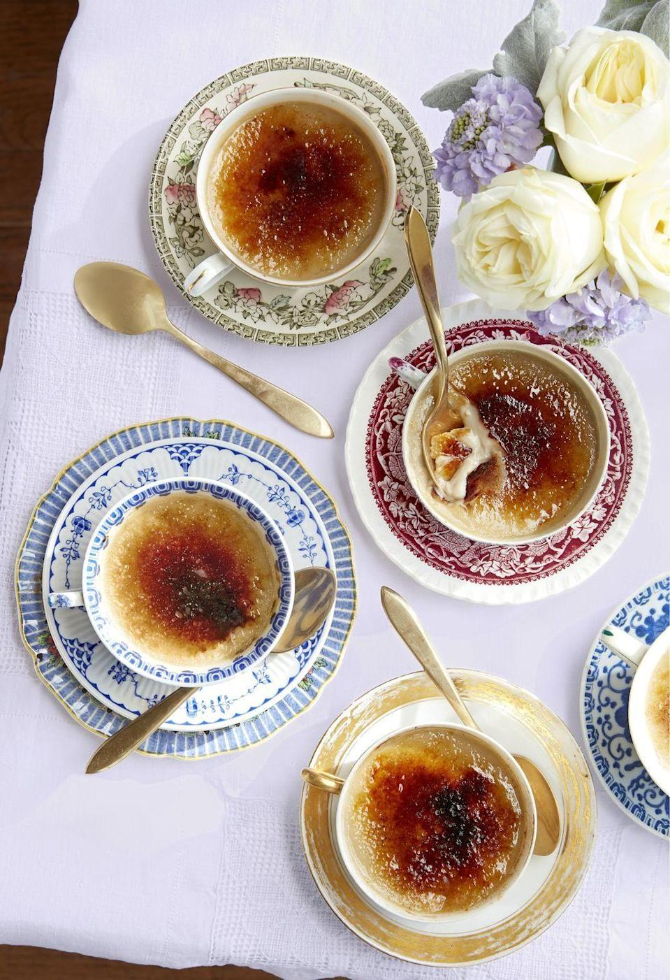 """<p>If Dad loves all things British (and has a sweet tooth) try this recipe. Traditional crackly-topped custard gets infused with Earl Grey tea for a fancy treat. Make it fancier by cooking it in vintage teacups.<br></p><p><strong><a href=""""https://www.countryliving.com/food-drinks/a26868461/earl-gray-creme-brulee-recipe/"""" rel=""""nofollow noopener"""" target=""""_blank"""" data-ylk=""""slk:Get the recipe"""" class=""""link rapid-noclick-resp"""">Get the recipe</a>.</strong> </p>"""