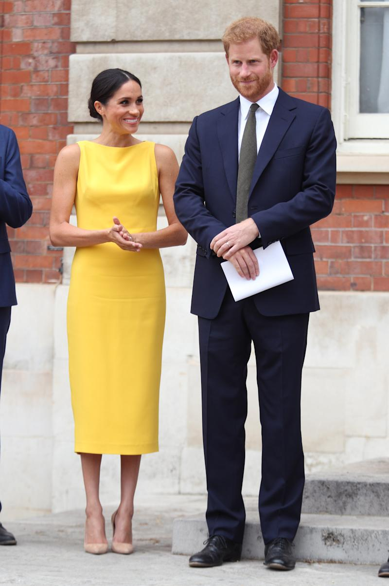 The Duchess of Sussex's sunny yellow Brandon Maxwell dress was hailed one of her greatest fashion moments to date [Photo: Getty]