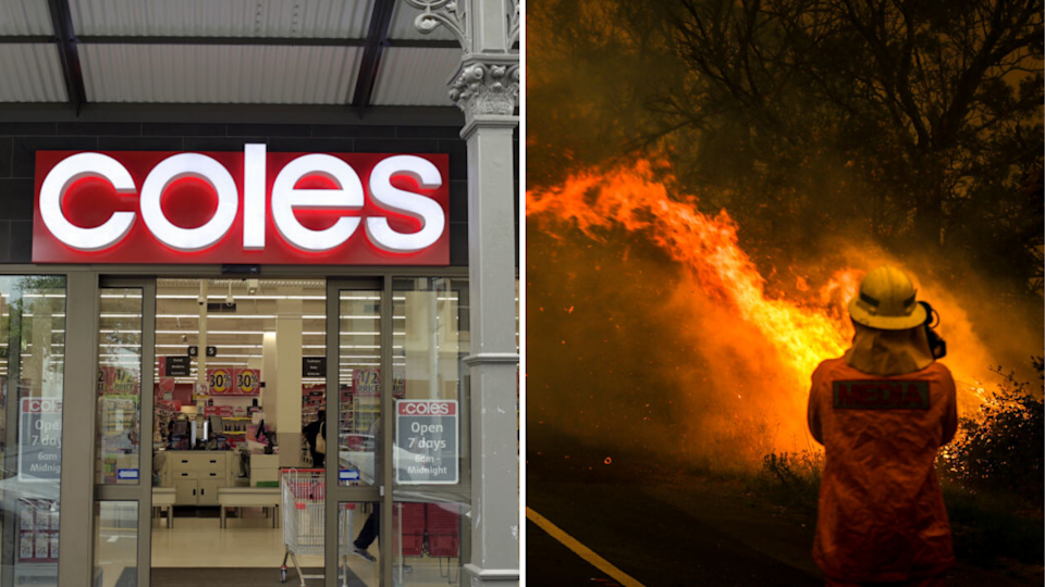 Coles has donated $3 million to firefighters. Images: Getty