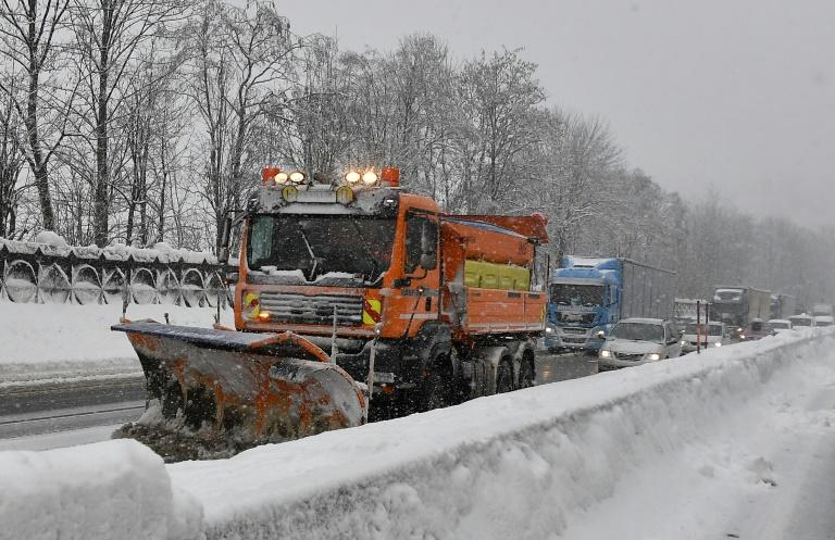 Emergency services have struggled to clear roads after the record snowfall, partly because of a lack of road-salt for gritting