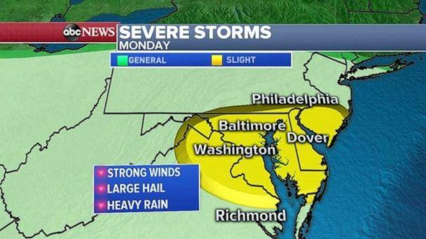 PHOTO: Severe storms are forecast Monday in the mid-Atlantic region. (ABC News)