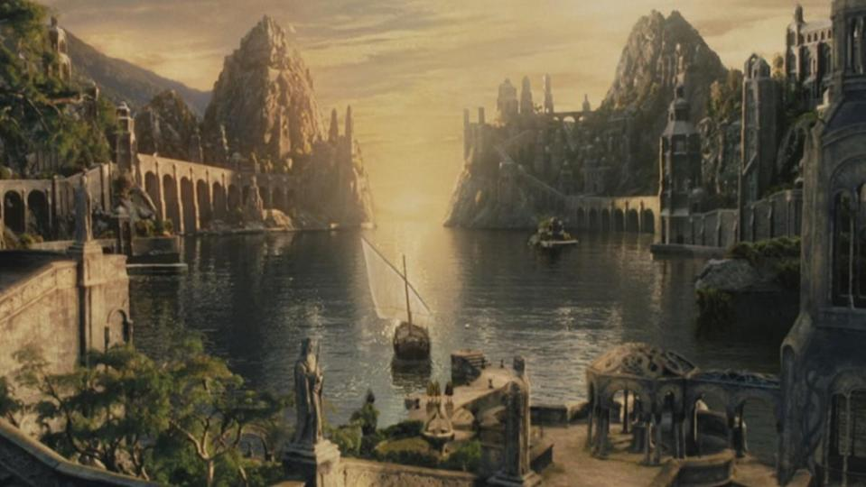 The kingdom of Lindon and the boat to the Undying Lands from The Lord of the Rings: The Return of the King.