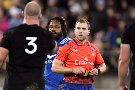 Rugby Union - June Internationals - New Zealand vs France - Westpac Stadium, Wellington, New Zealand - June 16, 2018 - Referee Angus Gardiner reacts after sending Benjamin Fall of France off the field. REUTERS/Ross Setford
