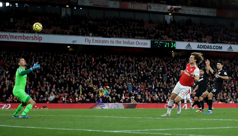 LONDON, ENGLAND - DECEMBER 05: David Luiz of Arsenal scored an offside goal during the Premier League match between Arsenal FC and Brighton & Hove Albion at Emirates Stadium on December 05, 2019 in London, United Kingdom. (Photo by Marc Atkins/Getty Images)