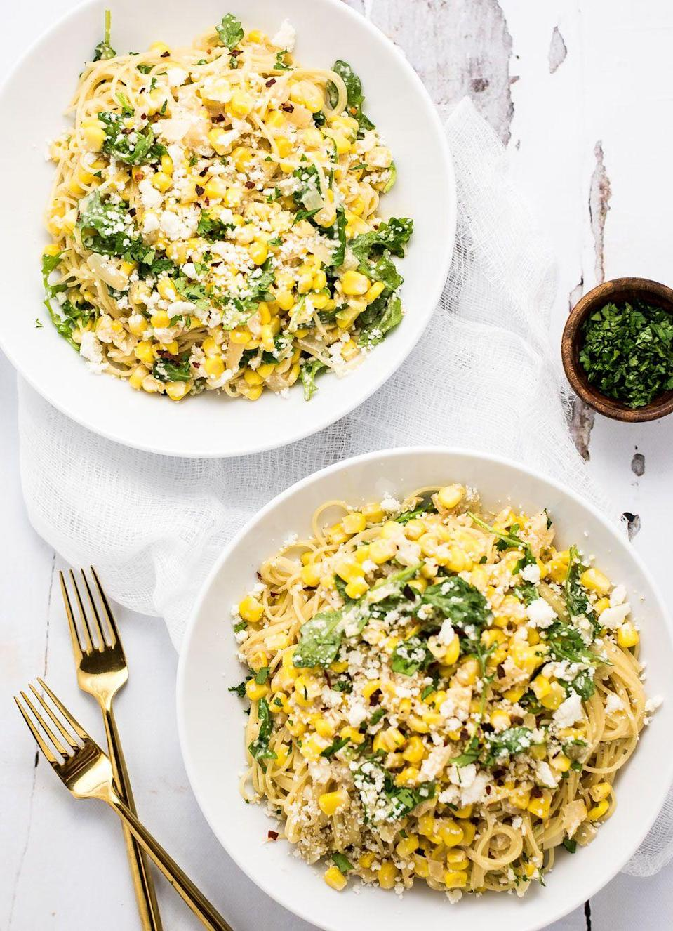 """<p>Crumbled Cojita cheese gives this pasta recipe a truly signature taste.</p><p><strong>Get the recipe at <a href=""""http://cookingandbeer.com/2016/05/mexican-corn-pasta/"""" rel=""""nofollow noopener"""" target=""""_blank"""" data-ylk=""""slk:Cooking and Beer"""" class=""""link rapid-noclick-resp"""">Cooking and Beer</a>.</strong></p><p><strong><strong><a class=""""link rapid-noclick-resp"""" href=""""https://www.amazon.com/Stainless-Steel-Skillet-Glass-Cover/dp/B01D0MDZRO/ref=sr_1_5?tag=syn-yahoo-20&ascsubtag=%5Bartid%7C10050.g.1487%5Bsrc%7Cyahoo-us"""" rel=""""nofollow noopener"""" target=""""_blank"""" data-ylk=""""slk:SHOP SKILLETS"""">SHOP SKILLETS</a></strong><br></strong></p>"""