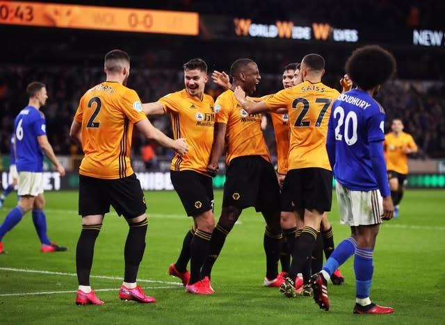 Willy Boly celebrates scoring but his goal is later ruled out for offside (Nick Potts/PA)