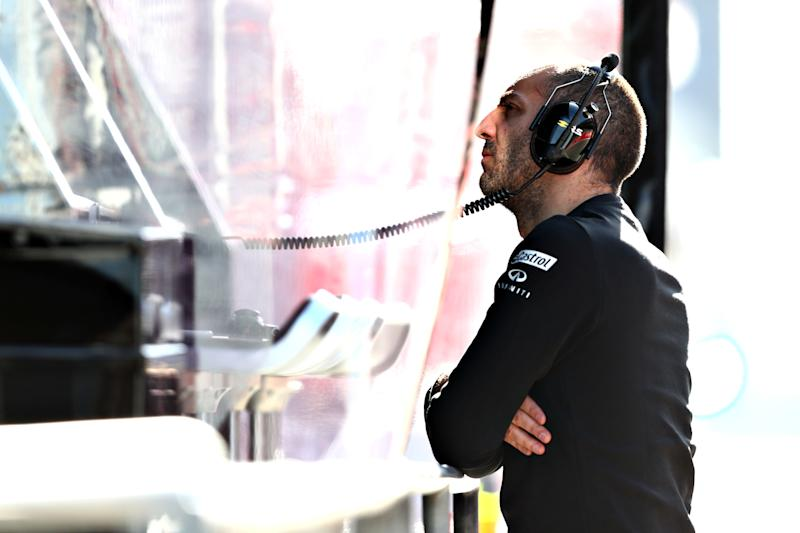 MONTMELO, SPAIN - FEBRUARY 18: Renault Sport F1 Managing Director Cyril Abiteboul looks on from the pitwall during day one of F1 Winter Testing at Circuit de Catalunya on February 18, 2019 in Montmelo, Spain. (Photo by Dan Istitene/Getty Images)