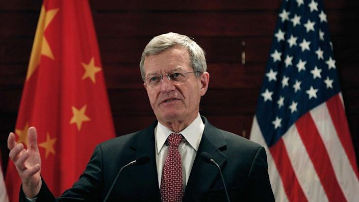 File picture of Max Baucus, former US ambassador to China, at the US embassy in March 2014 in Beijing, China