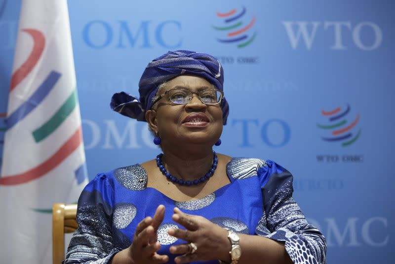 WTO Director-General Ngozi attends an interview with Reuters at the WTO headquarters in Geneva