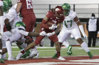 Washington State running back Deon McIntosh (3) runs for a touchdown during the second half of the team's NCAA college football game against Oregon in Pullman, Wash., Saturday, Nov. 14, 2020. Oregon won 43-29. (AP Photo/Young Kwak)