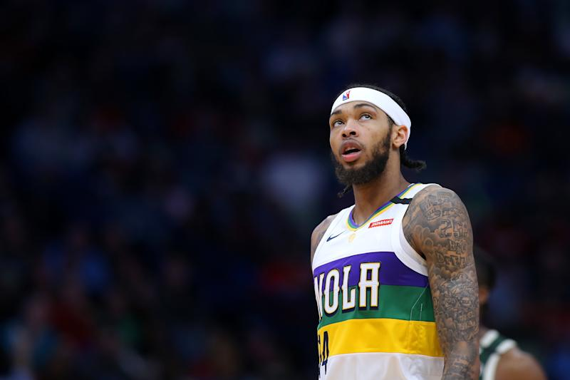 NEW ORLEANS, LOUISIANA - FEBRUARY 04: Brandon Ingram #14 of the New Orleans Pelicans reacts against the Milwaukee Bucks during a game at the Smoothie King Center on February 04, 2020 in New Orleans, Louisiana. NOTE TO USER: User expressly acknowledges and agrees that, by downloading and or using this Photograph, user is consenting to the terms and conditions of the Getty Images License Agreement. (Photo by Jonathan Bachman/Getty Images)