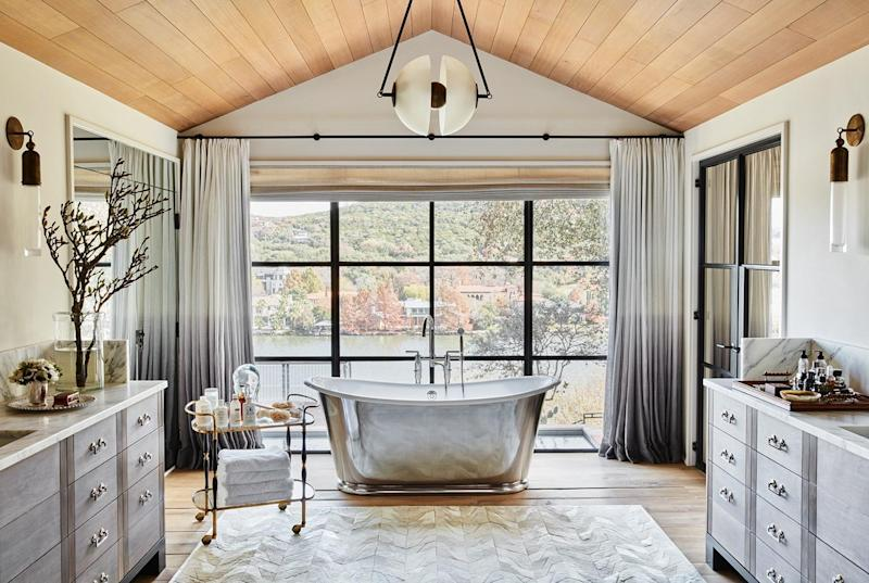 Metallic accent pieces like this bathtub are set to be all the rage in 2020.