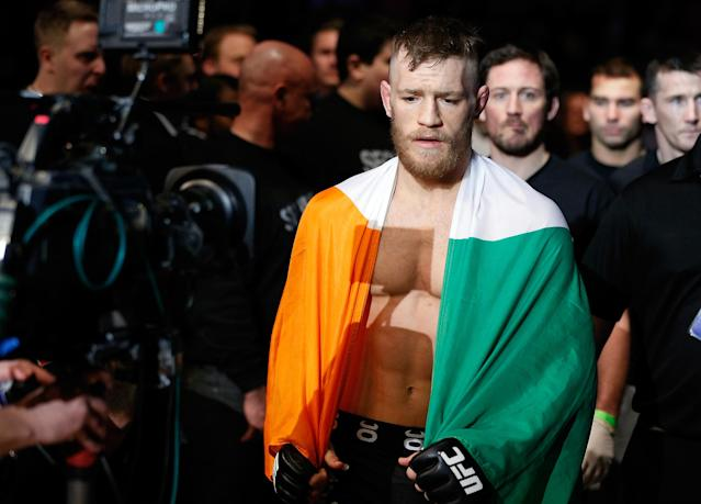 <p>In what was his final fight on the regional circuit, McGregor entered the bout holding the Cage Warriors featherweight title, but moved up to lightweight to try for a second weight-class title. It would be a sign of things to come. He knocked out Bunchinger in the first to win the title and earn a ticket to the UFC. </p>