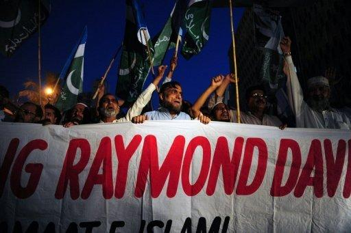 Protests against the release of CIA contractor Raymond Davis in Karachi in 2011. The widow of a Pakistani man shot dead by Davis last year has been killed by her father for refusing to remarry, police said