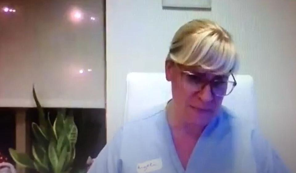 Angela Millar, executive director of the Little Mountain Place care home in Vancouver, appears to sob in a screenshot from a leaked Zoom briefing on December 21, 2020. Forty-one residents have died of Covid-19 at the home. Photo: SCMP