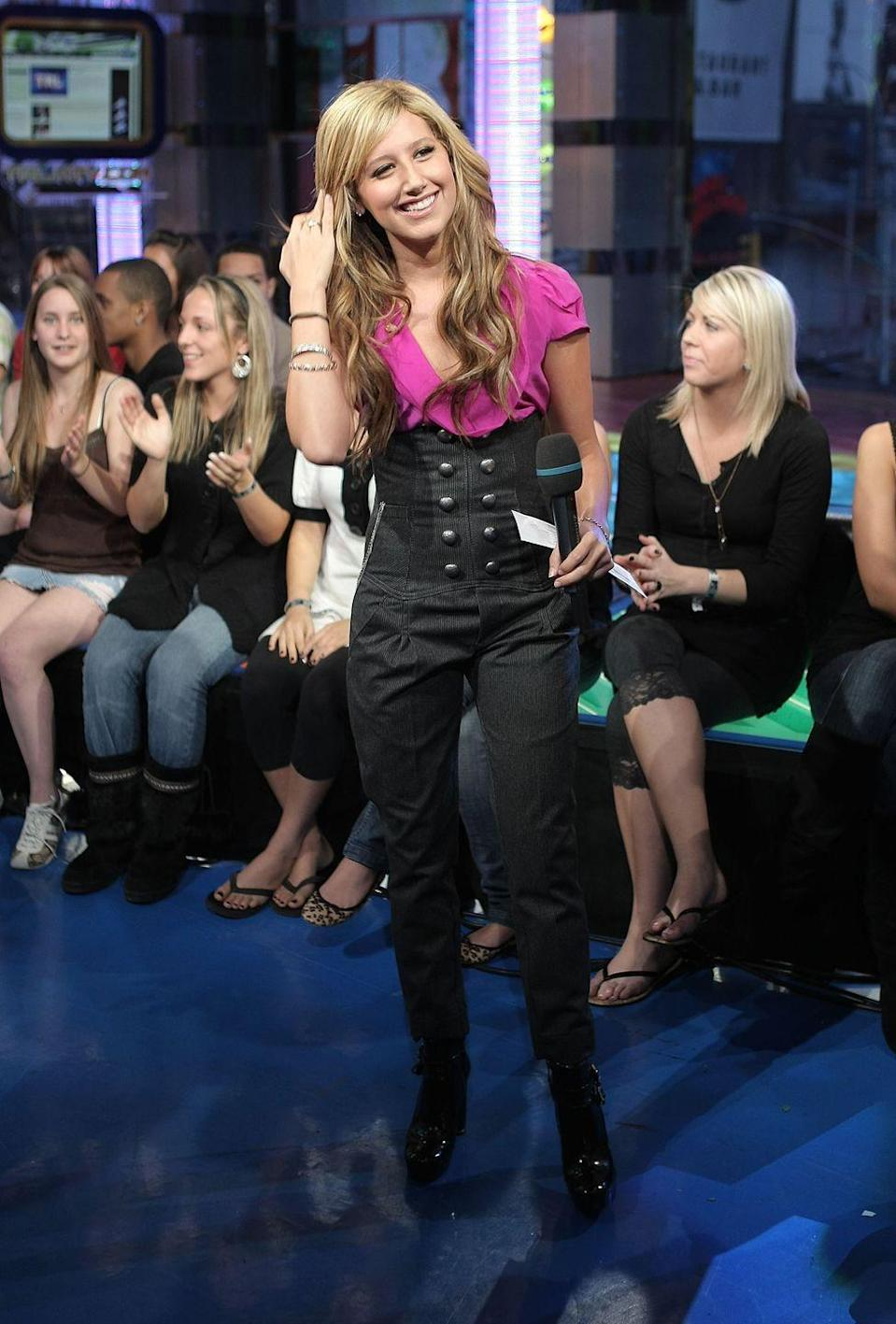 <p>Back in 2007, I was totally on board with the high-waisted pant trend, but Ashley Tisdale took it too far. Does anyone else think she may just be wearing a girdle and calling it ~fashun~?</p>
