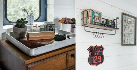 """Left: Tray was a WWII soldiers' food tray, acquired in Alaska.A decorative horseshoe with stained glass stamped """"Maryville"""" and a """"U.S. 129"""" sign bring a touch of local color. Photo credit: Airbnb."""