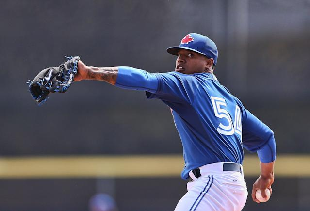 DUNEDIN, FL - MARCH 12: Marcus Stroman #54 of the Toronto Blue Jays warms up prior to the start of the game against the Tampa Bay Rays at Florida Auto Exchange Stadium on March 12, 2014 in Dunedin, Florida. (Photo by Leon Halip/Getty Images)