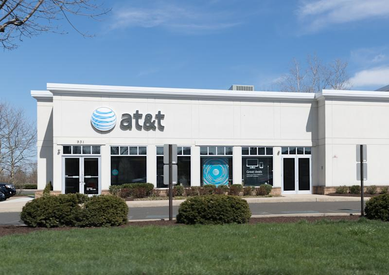 Philadelphia, Pennsylvania, April 22 2018: AT&T store in Philadelphia. There are over 2,200 company-owned AT&T stores.