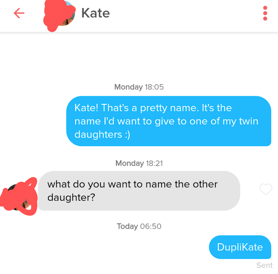 person saying they love the name kate and want to name their kid that and will name their other kid duplikate
