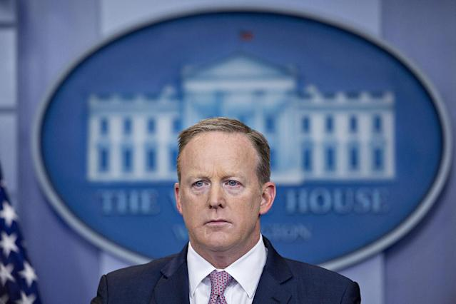 <p>Sean Spicer, White House press secretary, listens to a question during a White House press briefing in Washington, D.C., May 12, 2017. (Photo: Andrew Harrer/Bloomberg via Getty Images) </p>