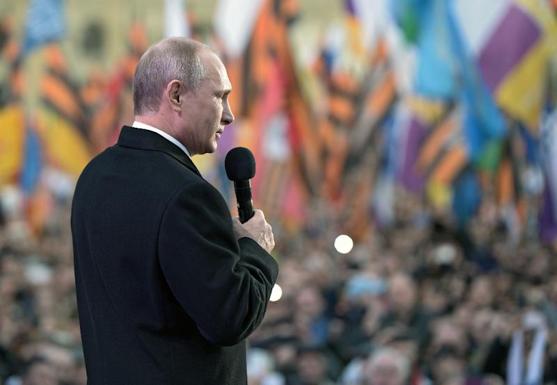 Russia's President Vladimir Putin gives a speech during a rally and concert in Moscow on March 18, 2015, to mark one year since he signed off on the annexation of Crimea (AFP Photo/Alexei Nikolsky)