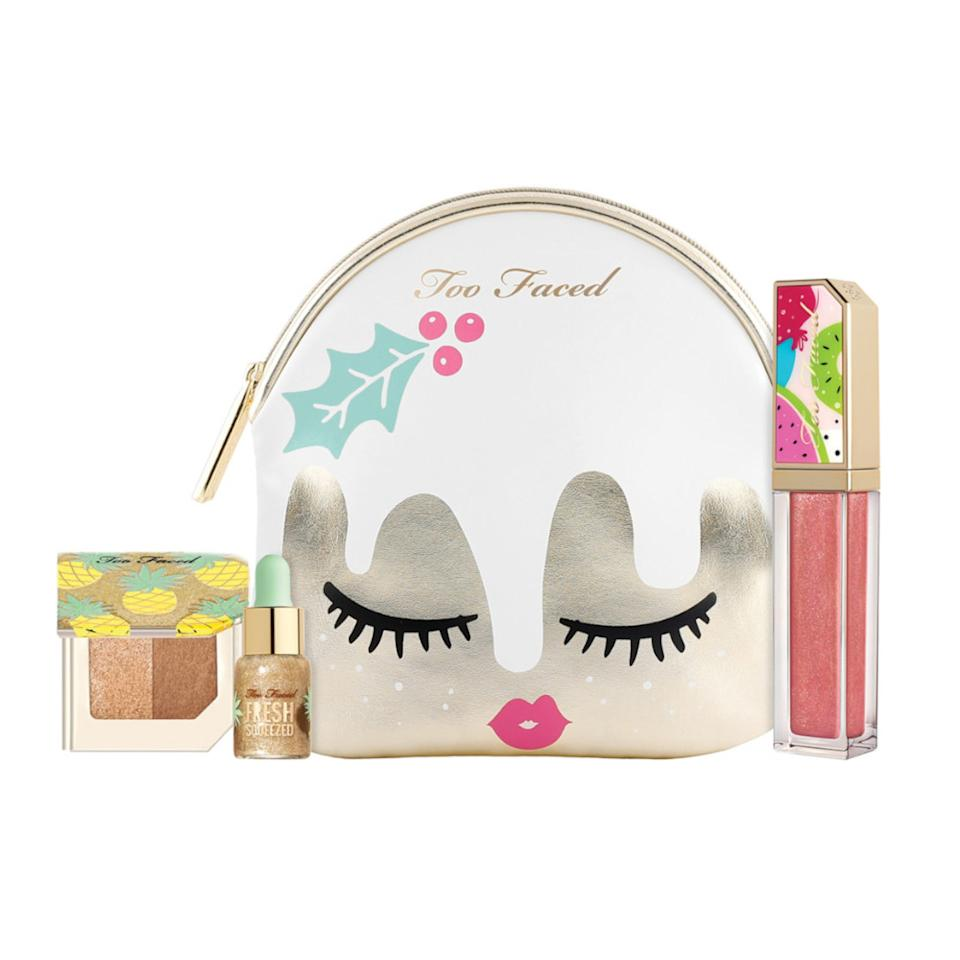"<p>This is not your average holiday fruitcake. The limited-edition makeup set from Too Faced features fruit-scented favorites in a playful metallic pouch. From lip gloss to bronzer, this kit has everything you need for a dazzling party look.<br /><strong>Shop it:</strong> $30, <a rel=""nofollow"" href=""https://fave.co/2Ooov78"">ulta.com</a> </p>"