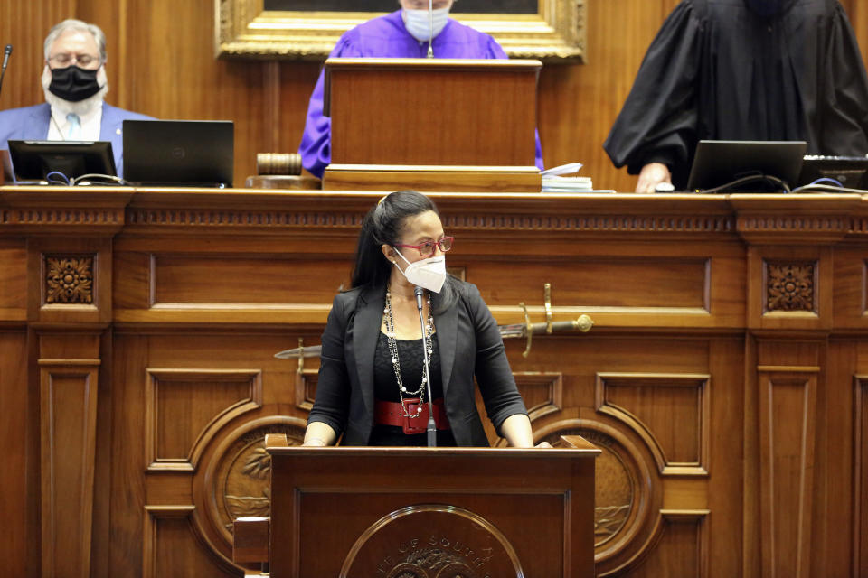 State Sen. Mia McLeod, D-Columbia, speaks about a bill that would ban almost all abortions in the state on Thursday, Jan. 28, 2021 in Columbia, S.C. McLeod voted against the bill on an initial vote. (AP Photo/Jeffrey Collins).