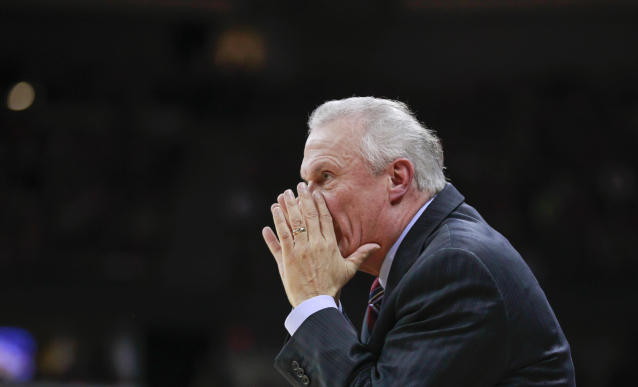 Wisconsin coach Bo Ryan yells during the first half of an NCAA college basketball game against Purdue on Wednesday, Jan. 7, 2015, in Madison, Wis. Wisconsin won 62-55. (AP Photo/Andy Manis)