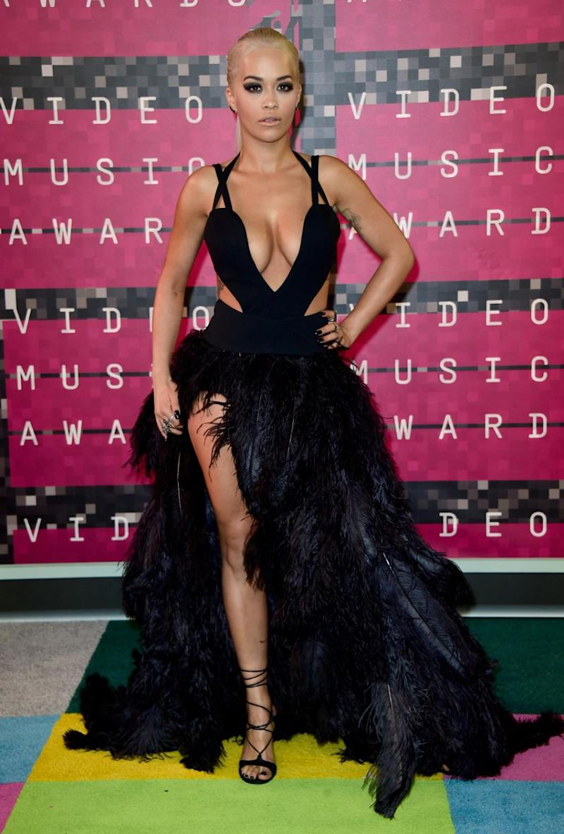 The singer, who is this year's host, is no stranger to daring outfits, pictured here at the 2015 VMAs. Source: Getty