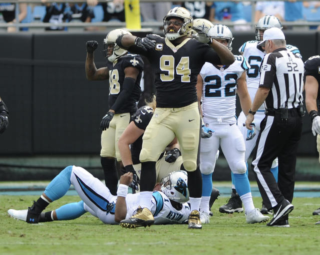 Jordan celebrates a sack of Cam Newton earlier this season. (AP Photo/Mike McCarn, File)