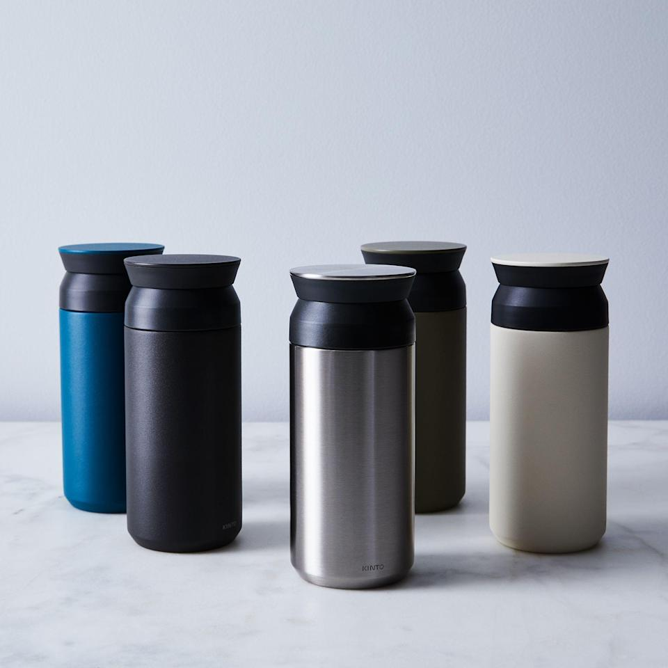 """<h2>Kinto Vacuum Insulated Travel Tumbler</h2><br><strong>Best For: Bags & Backpacks</strong><br>Putting an average travel mug in your bag for the first time is a leap of faith — with these cups, you won't have to worry. You can fully secure the mess-free screw top lid (no sip hole leaks), and throw it into an average-sized tote bag thanks to its smaller 2.8"""" x 6.8"""" dimensions.<br><br><em>Shop</em> <strong><em><a href=""""https://food52.com/shop/merchants/kinto"""" rel=""""nofollow noopener"""" target=""""_blank"""" data-ylk=""""slk:Kinto"""" class=""""link rapid-noclick-resp"""">Kinto</a></em></strong><br><br><strong>Kinto</strong> Vacuum Insulated Travel Tumbler, $, available at <a href=""""https://go.skimresources.com/?id=30283X879131&url=https%3A%2F%2Ffood52.com%2Fshop%2Fproducts%2F4430-vacuum-insulated-travel-tumbler"""" rel=""""nofollow noopener"""" target=""""_blank"""" data-ylk=""""slk:Food52"""" class=""""link rapid-noclick-resp"""">Food52</a>"""