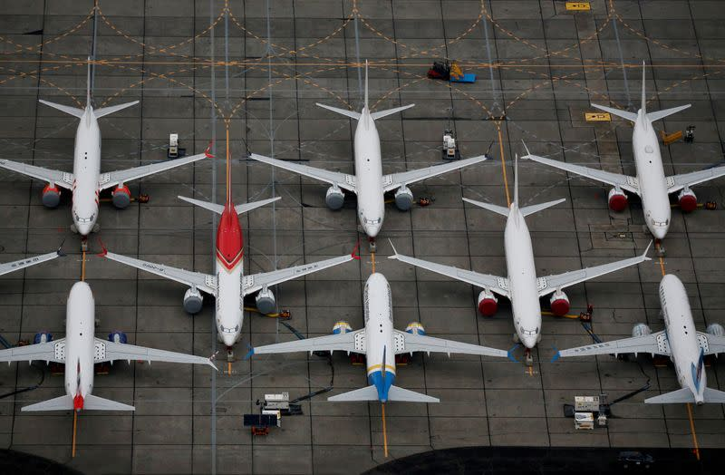 FILE PHOTO: Grounded Boeing 737 MAX aircraft are seen parked at Boeing facilities at Grant County International Airport in Moses Lake