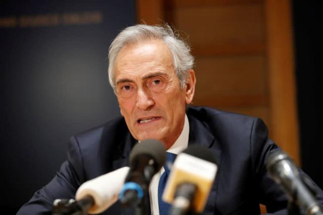 FILE PHOTO: Italian Football Federation (FIGC) Chairman Gabriele Gravina speaks to the media after a board meeting