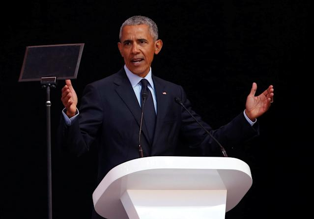 Former U.S. President Barack Obama delivers the 16th Nelson Mandela annual lecture, marking the centenary of the anti-apartheid leader's birth, in Johannesburg, South Africa, July 17, 2018. In his highest-profile speech since leaving office, Obama urged people around the world to respect human rights and other values under threat in an address marking the 100th anniversary of anti-apartheid leader Nelson Mandela's birth. REUTERS/Siphiwe Sibeko