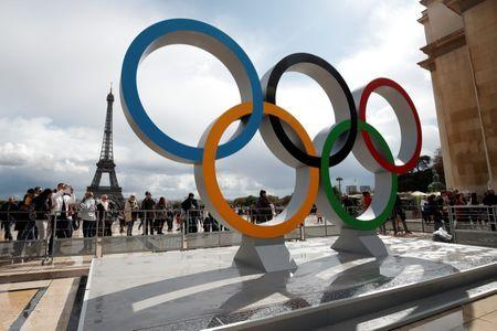 Olympic rings to celebrate the IOC official announcement that Paris won the 2024 Olympic bid are seen in front of the Eiffel Tower at the Trocadero square in Paris, France, September 16, 2017. REUTERS/Benoit Tessier