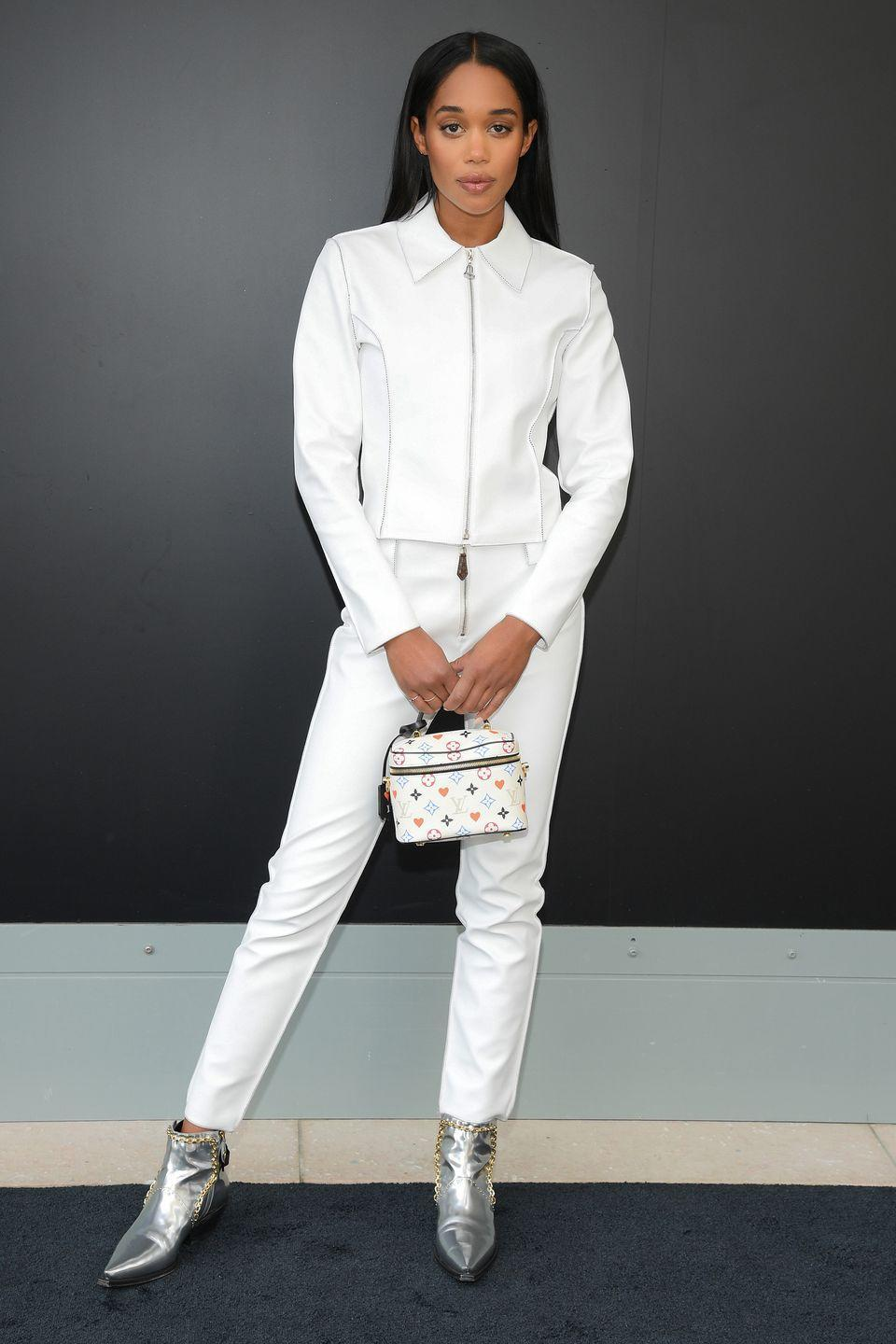 <p><strong>6 October </strong>Laura Harrier wore a monochrome look in a white two-piece and metallic boots. </p>