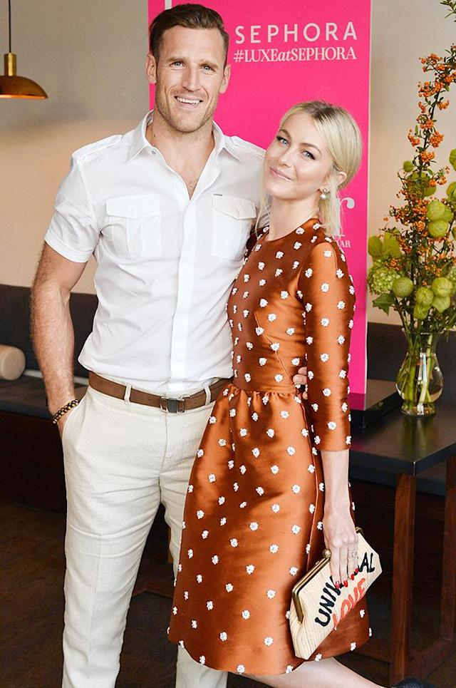 Julianne Hough and Brooks Laich make their first post-wedding appearance Aug. 22at a dinner in honor of pal Nina Dobrev. (Photo: Stefanie Keenan/Getty Images for harper by Harper's Bazaar)