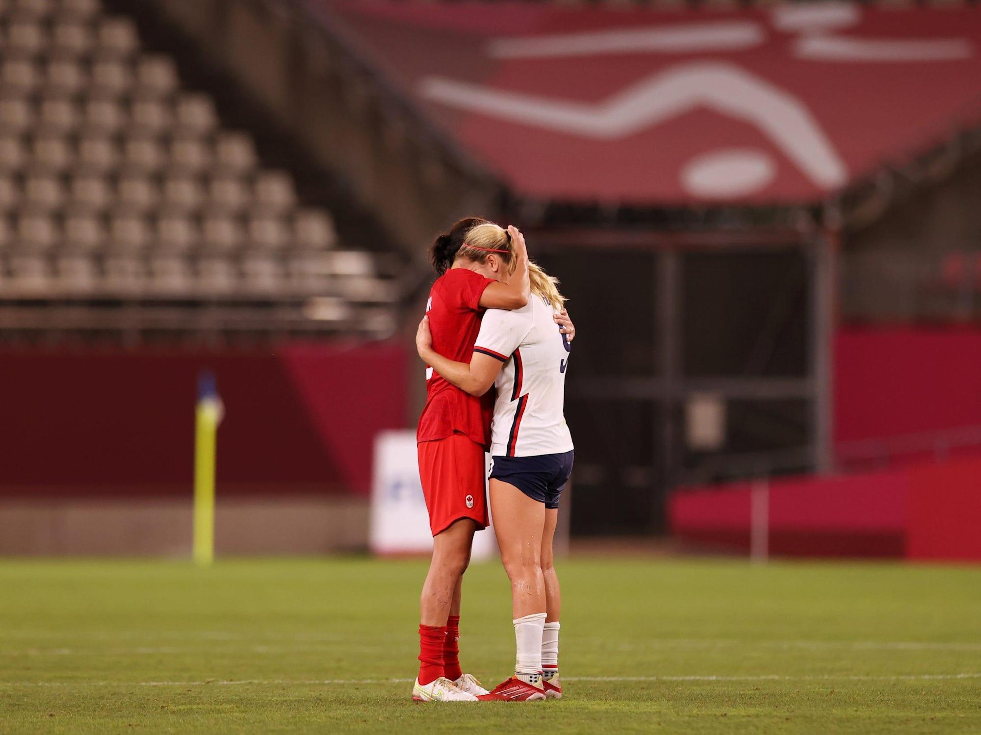 Canada's soccer captain consoled her American club teammate after the USWNT lost its shot at Olympic gold