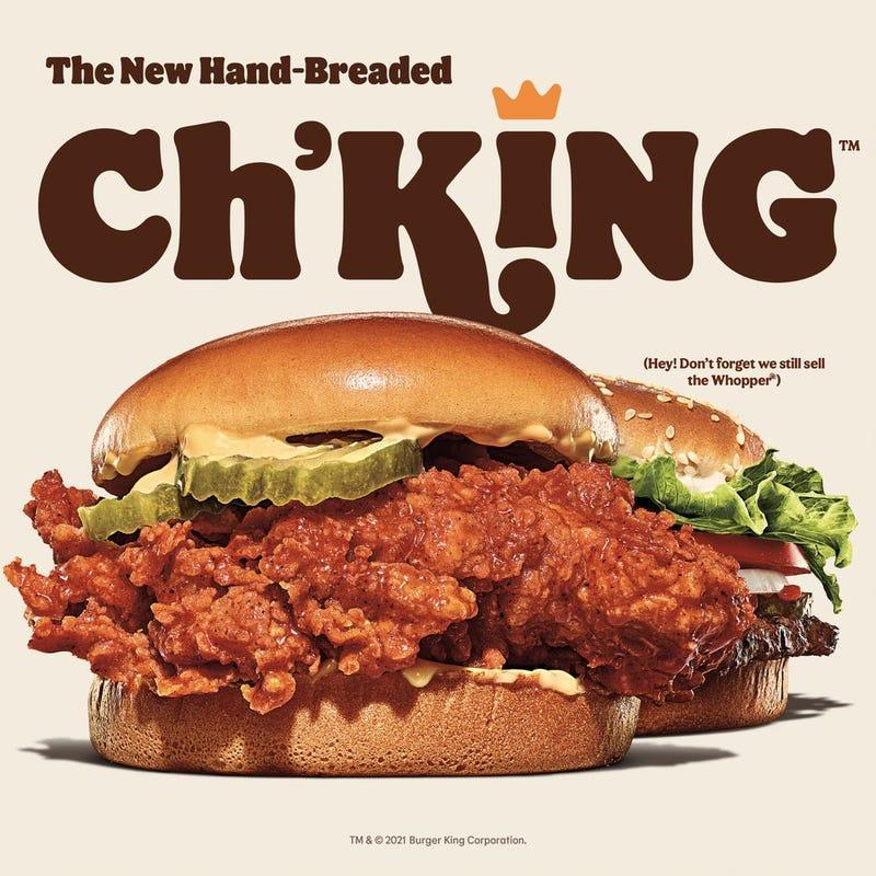 """Product shot reading """"The New Hand-Breaded Ch'KING"""" [image provided by Burger King]"""